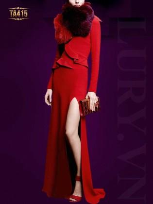 Đầm dạ hội đỏ xẻ tà sang trọng TA415