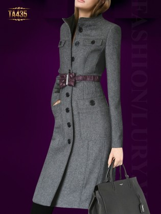 Áo khoác dạ ghi body dáng dài kèm dây đai nơ tím thời trang TA435