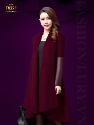 Áo khoác dạ Hàn Quốc đẹp tay phối da thời trang TA321