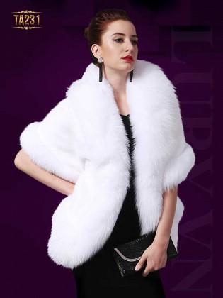Khăn choàng lông chồn cao cấp TA231 (Trắng)