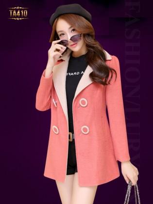 Khoác dạ ép Hàn Quốc đẹp ve cổ phối màu thời trang TA410