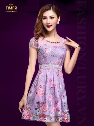 Đầm hoa voan tím cổ đính đá thời trang TV469