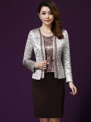 Set váy gấm kèm áo khoác vest đính đá hạt cao cấp TV271