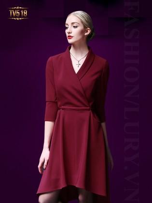 Đầm đỏ dáng xòe cổ tim vạt chéo sang trọng  TV518