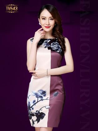 Đầm sát nách hai màu họa tiết hoa quý phái TV543