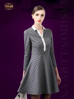 Đầm ghi xòe chấm bi thời trang TV546