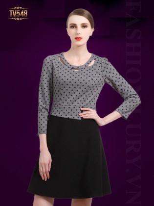 Đầm liền chấm bi phối chân váy một màu thời trang TV548