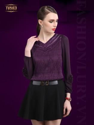 Đầm xòe Hàn Quốc đẹp phối màu thời trang kèm đai TV563 (Màu tím)