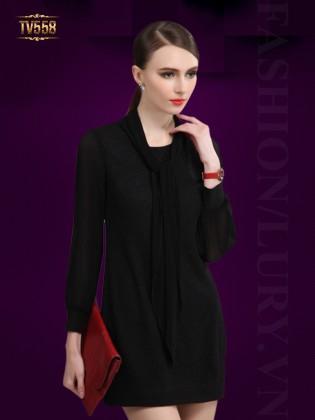 Đầm đen dài tay kèm khăn cổ sang trọng TV558