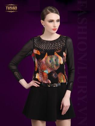 Đầm xòe tay voan in họa tiết đẹp thân trước TV560
