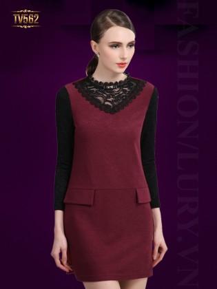 Đầm màu tay ren hai túi giả trước cao cấp TV562 (Màu đỏ)