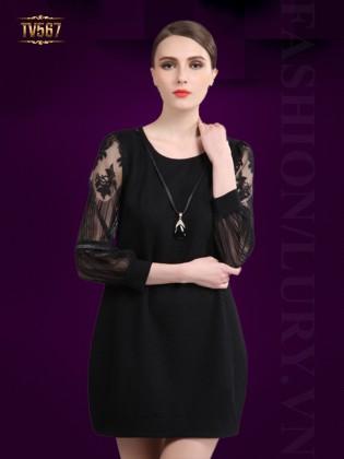 Đầm suông trơn tay voan cách điệu TV567 (Màu đen)