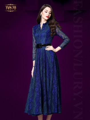 Đầm ren xòe dáng dài kèm đai đẹp TV570 (Màu xanh)