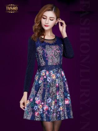 Đầm nhũ xanh dáng xòe họa tiết thời trang TV580