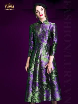 Đầm gấm xòe họa tiết xanh dáng dài đẹp TV594