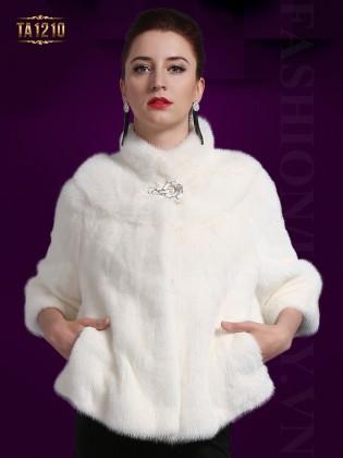 Áo khoác lông dáng ngắn 2 túi màu trắng cao cấp TA1210