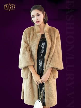 Áo khoác lông oversize dáng dài kèm đai cao cấp TA1217