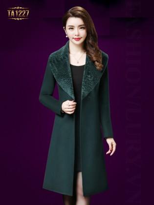 Áo khoác dạ dài 1 cúc cổ lông TA1227 (Xanh lá)