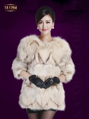 Áo khoác lông Hàn Quốc tay lửng không cổ nhập khẩu cao cấp TA1284 (Màu kem)