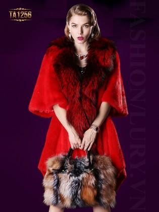 Áo khoác nhung lông nhập khẩu oversize tay lửng cao cấp TA1256 (Màu đỏ)