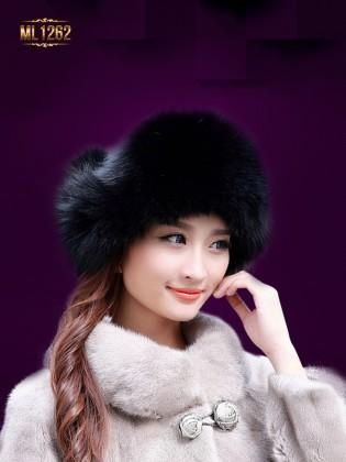 Mũ lông chụp tai dây buộc quả lông cao cấp Hàn Quốc ML1262 (Đen tuyền)