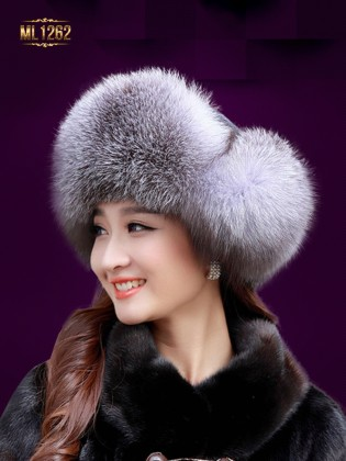 Mũ lông chụp tai dây buộc quả lông cao cấp Hàn Quốc ML1262 (Đen xám)