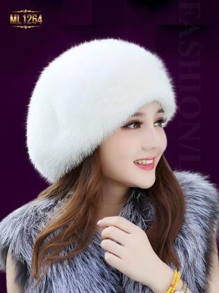 Mũ nồi lông phong cách Hàn Quốc thời trang ML1264 (Màu trắng)