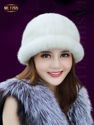 Mũ lông tròn bo vành HQ cao cấp ML1265 (Màu trắng)