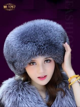 Mũ da HQ phối viền lông nhập khẩu cao cấp ML1267 (Màu xám)