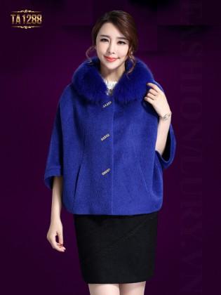 Áo khoác dạ cape cổ lông tay lửng thời trang TA1288 (Xanh coban)