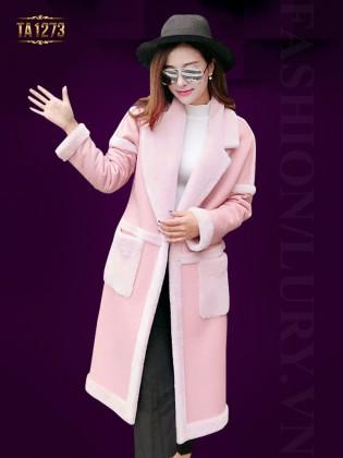 Áo khoác da hồng dáng dài phối viền TA1273