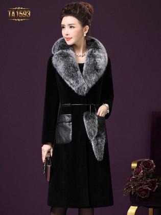Áo khoác nhung đen cổ lông TA1593  2017 cao cấp túi da sang trọng