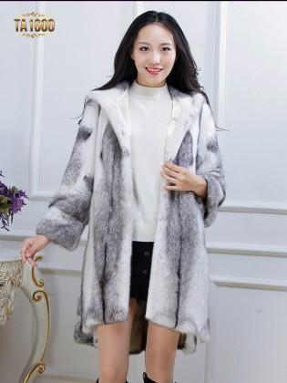 Áo khoác TA1600  chất lông thú 100% tự nhiên dáng oversize xẻ vạt