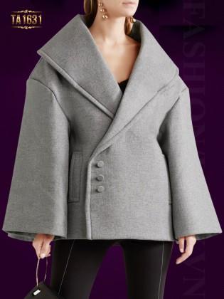 Áo khoác TA1631 dáng ngắn tay lửng cúc lệch thời trang