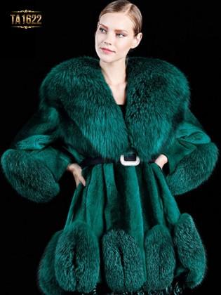 Áo khoác TA1622 mới 2017 chất lông thú 100% dáng váy kèm dây đai