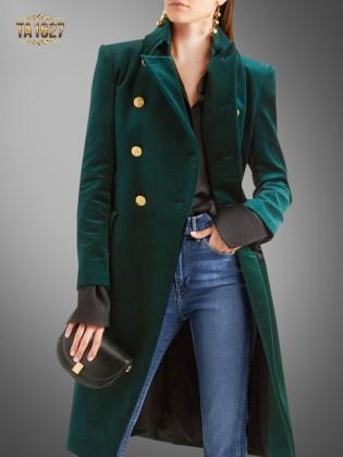 Áo khoác dạ nhung xanh cổ vest TA1627 thiết kế mới phiên bản