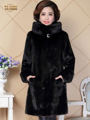 Áo khoác TA1606 mới 2017 chất lông thú 100% tự nhiên kèm mũ