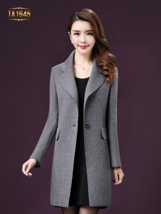 Áo khoác dạ TA1645 mới nhất kiểu túi giả màu ghi cao cấp
