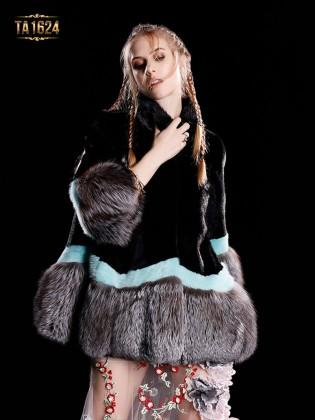 Áo khoác TA1624 mới 2017 chất lông thú 100% tự nhiên phối màu phong cách
