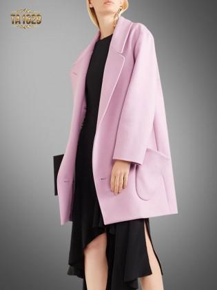 Áo khoác dạ hồng TA1629 thời thượng mới nhất có 2 túi chéo thiết kế