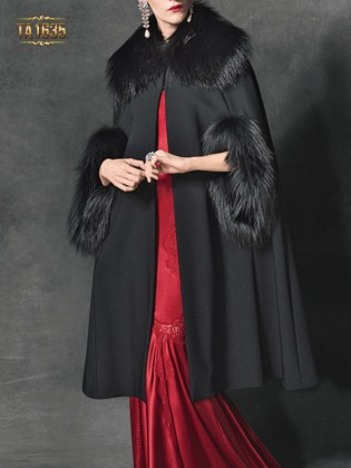 Áo choàng cape TA1635 đen tay lỡ phối lông tự nhiên cao cấp 2017