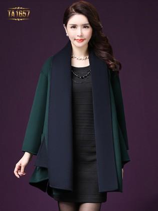 Áo khoác dạ TA1657 mới 2017 vạt high low thời trang (Màu xanh)