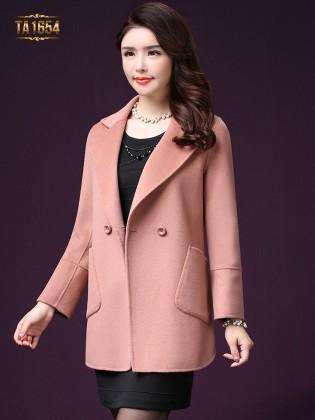 Áo khoác dạ TA1654 mới túi lệch 1 cúc (Màu hồng)