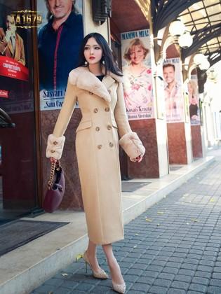 Áo khoác dạ dài TA1679 mới 2017 phối lông đính cúc sang trọng
