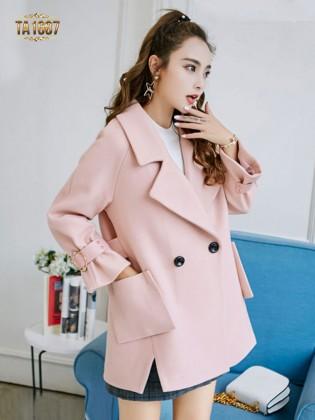 Áo khoác dạ TA1687 mới 2017 túi chéo xẻ vạt (Màu hồng)