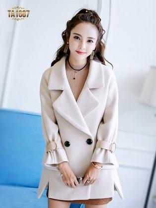 Áo khoác dạ TA1687 mới 2017 túi chéo xẻ vạt (Màu kem)