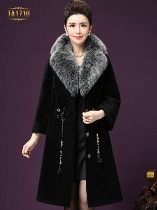 Áo khoác nhung TA1710 mới cổ phối lông kèm dây đai tết