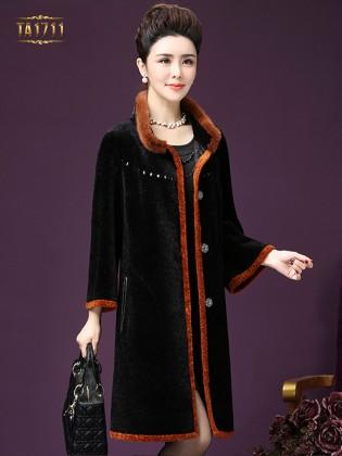 Áo khoác nhung TA1711 mới màu đen viền cam cao cấp