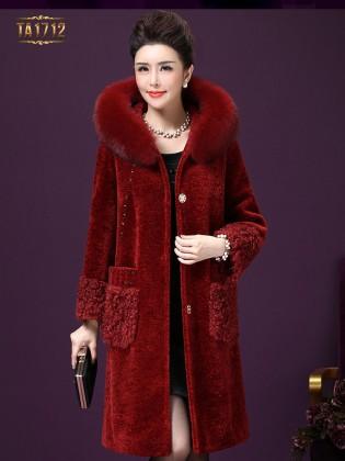 Áo khoác nhung TA1712 mới mũ lông chấm da thời trang (Màu đỏ)