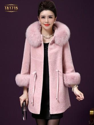 Áo khoác nhung TA1715 mới 2017 cổ lông tay lỡ màu hồng